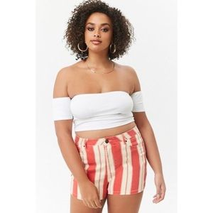 Forever 21 Plus Red And Cream Striped Shorts NWT